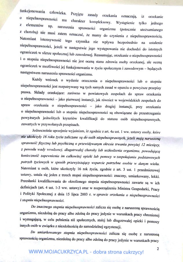 Odpowiedź MRPPiS o okrzekaniu o niepełnosprawności przy cukrzycy - www.mojacukrzyca.pl str. 2/5