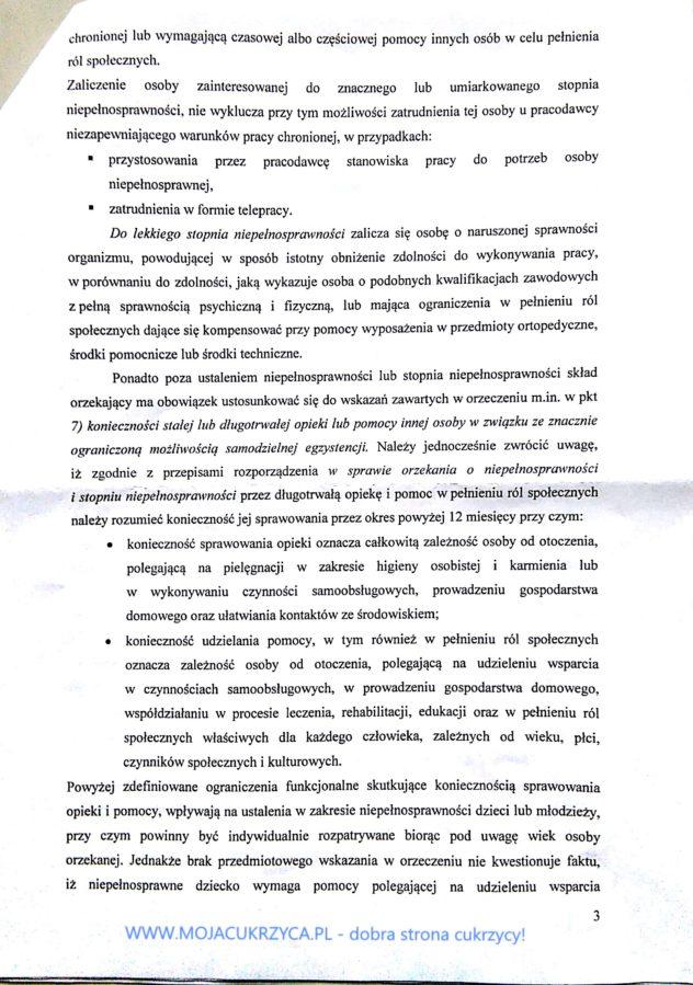 Odpowiedź MRPPiS o okrzekaniu o niepełnosprawności przy cukrzycy - www.mojacukrzyca.pl str. 3/5