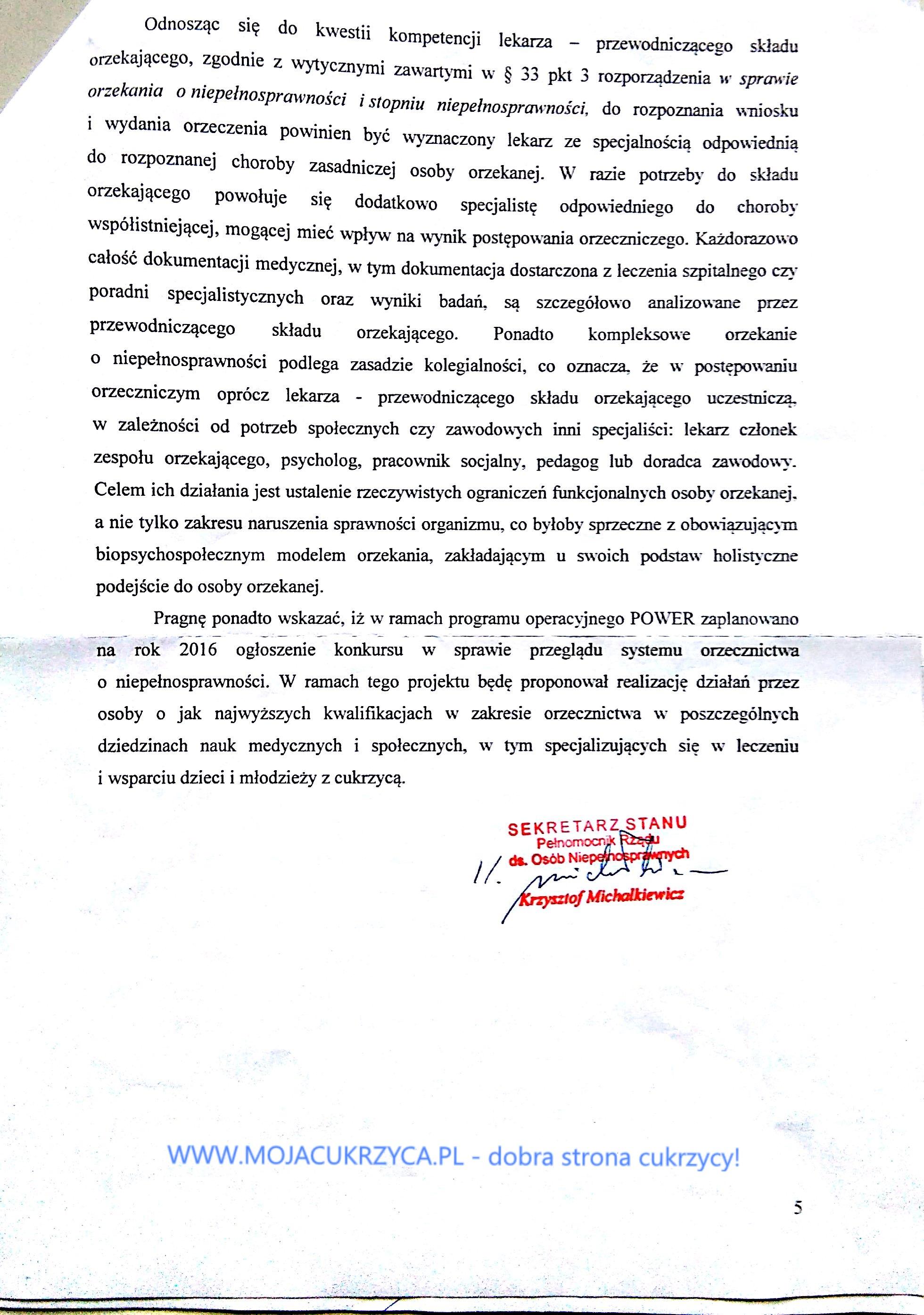Odpowiedź MRPPiS o okrzekaniu o niepełnosprawności przy cukrzycy - www.mojacukrzyca.pl str. 5/5