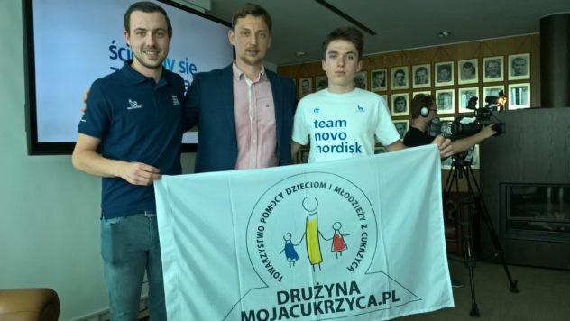 Od lewej Thomas Raeymaekers , Team Novo Nordisk, Michał Jeliński, Przemek Kotulski